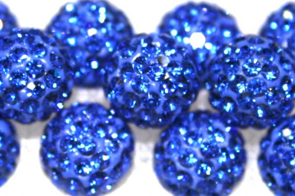 8mm Sapphire Blue 70 Stone Pave Crystal Beads- Half Drilled  PCBHD08-070-010